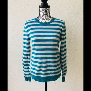 😍NWT Lord&taylor 💯 cashmere green striped M